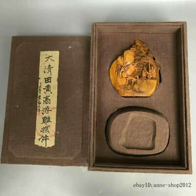 China Natural Tianhuang Shoushan Stone Scenery character Seal Stamp Signet LLL