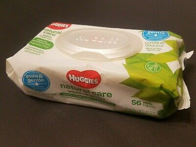 HUGGIES Natural Care Baby Wipes Unscented Sensitive Pure & Gentle 56 Count Pack
