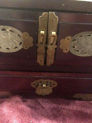 Vintage Oriental Chinese Wooden Jewelry Box Brass trims And Ornate Carved Jade