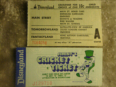 Disneyland Large Child A Ticket & 11 Attractions Plus Jiminy Cricket Ticket #Ac