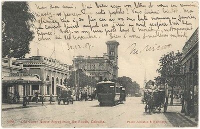India Calcutta Old Court House Street (1907) - Trolley