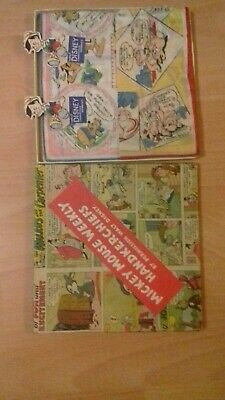 Vintage mickey mouse weekly handkerchifs Hankies Boxed