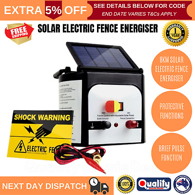 Solar Powered Electric Fence Energiser 8km Waterproof With Warning Sign Sticker