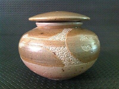 Ah (With A Symbol Stamp) Lidded Pottery Bowl. Unknown Potter.