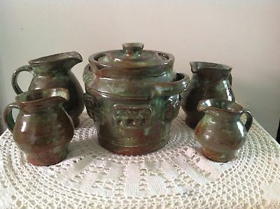 Arie Snel Signed Hand Made Pottery Set - 4 Jugs & Lidded Canister With Handles.