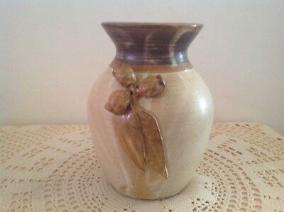 Gum Nut / Gum Leaf Decorated Q,Land '88 With Symbol Stamp Pottery Vase.