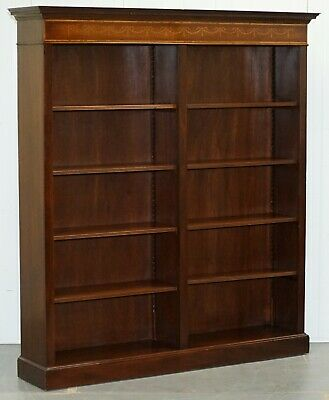 Lovely Walnut & Mahogany Marquetry Inlaid Double Bank Bookcase Adjustable Shelf