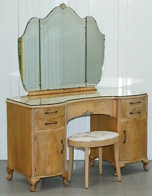 Circa 1920'S Walnut Kidney Dressing Table & Stool Set With Tri-Folding Mirror