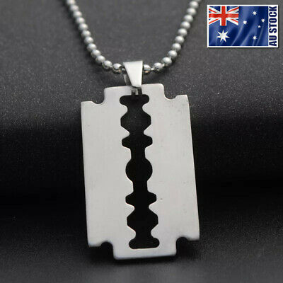 "Stainless Steel Plain Silver Razor Blade Pendant Necklace Mens & Womens 18""- 30"""