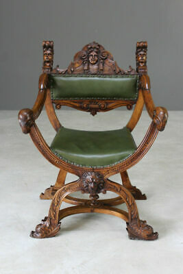 Antique Italian Renaissance Style Carved Walnut Savonarola Chair