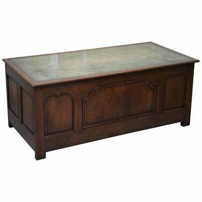 Stunning Circa 1900 Oak & Green Leather Topped Desk Or Shops Counter Arts Crafts