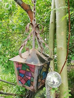 Vintage Wrought Iron & Coloured Glass Paneled Porch Hall Hanging Lantern Shade