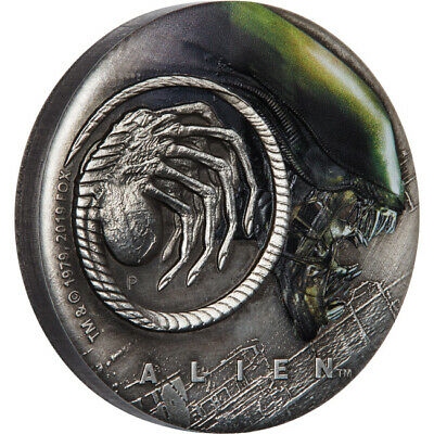 2019 Alien 40th Anniversary 2oz Silver Antiqued Coin