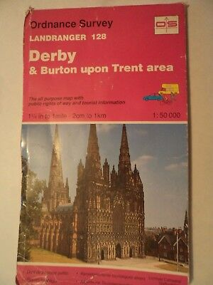 Ordnance Survey Map 1;50,000 128 Derby 1991 Inc. Burton, Rugeley, Lichfield