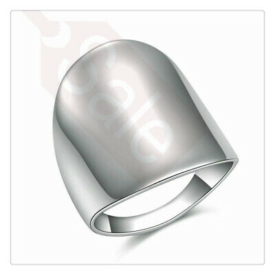 Women Ring Fashion Simple 316L Stainless Steel Silver Wide Jewelry Wedding Party