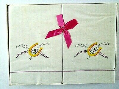 Two Vintage Linen Pillow Cases--Horseshoe Embroidery--Original Box