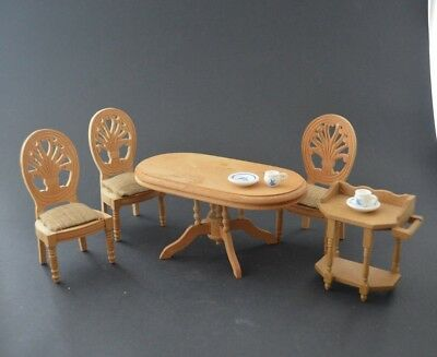 Vintage Toy Doll House furniture Dinning Set TABLE + 3 CHAIRS + TEA CART -e