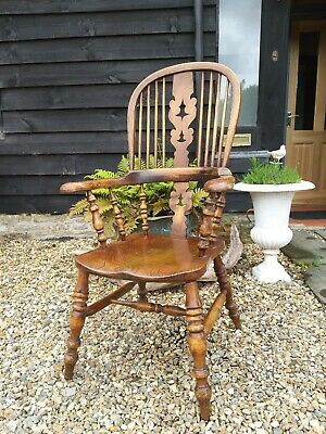 A Super Victorian Broad Arm Windsor Armchair Carver Country house