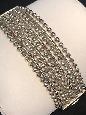 Vintage Silver Plated Heavy Multi Chain Strand  Bracelet 7.5 Inches 1 1/2 Wide