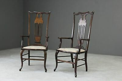 Pair Antique Victorian Inlaid Elbow Occasional Chairs Armchairs