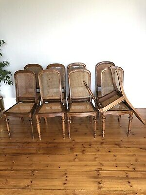9 Victorian dining chairs in Walnut with cane back and seat