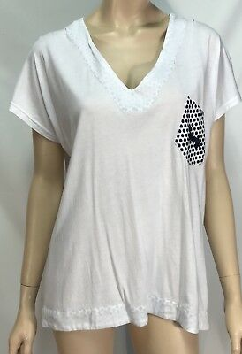 Peter Alexander Navy and White Top - Size Medium