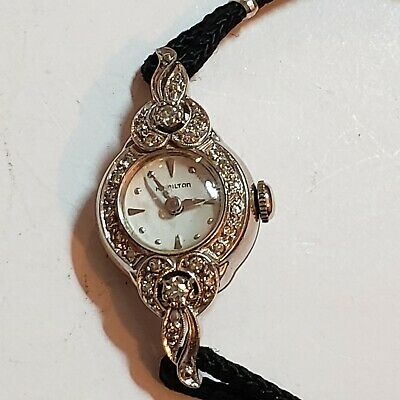 Beautiful Vintage 14k White Gold and Diamond Hamilton Ladies Watch Running