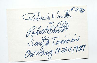 Fantastic OUR GANG SMITH BROTHERS!!! autograph signed card Little Rascals RARE