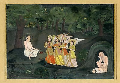 GREAT!! Majnun OUDH INDIA Angels c1760 gouache 166x218mm RARE Sothebys Lucknow