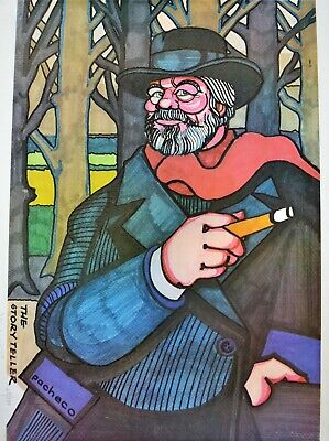 "Ferdie Pacheco Signed Print ""The Story Teller"" Orson Welles"