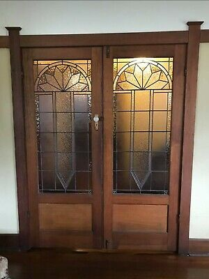 Pair Timber/Glass leadlight  Art Deco Internal French Doors