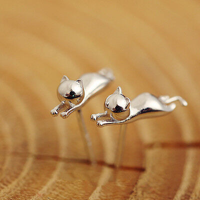Shiny 925 Sterling Silver Plt Cute Little 3D Cat Kitten Pussy Stud Earrings Gift