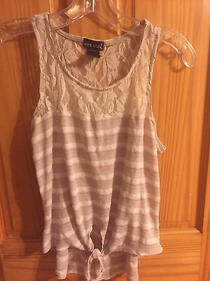 98aafd89f7dfd Wet Seal Tan Beige White & Lace Racerback Tie Front Tank Top Juniors Size M