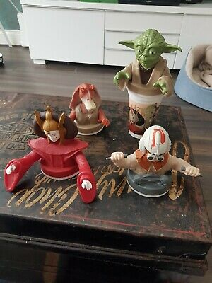 FULL SET of 4 Star Wars Episode 1 Cup Toppers Taco Bell KFC Pizza Hut 1999