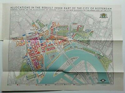 Rare Vintage 1949 ROTTERDAM MAP - Rebuilt inner part of city - How Holland Plans