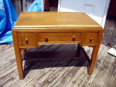 Antique Arts and Crafts Mission Style Oak Desk Library Table writing desk drawer