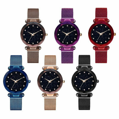 Lady Galaxy Dial Star Space Pattern Analog Wrist Watches Leather Strap Quartz UK