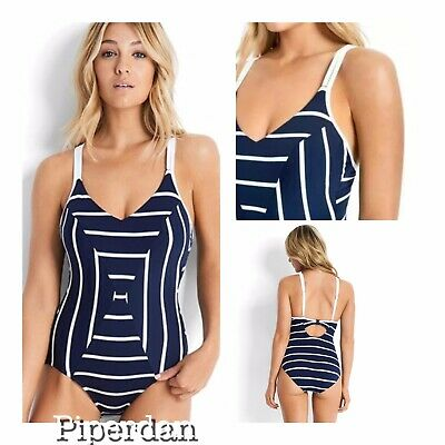 b64007ae96 Nwt $184 Seafolly Castaway Sweetheart Us 10 Dd Cup Navy White One Piece
