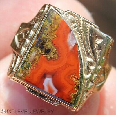 Antique SIGNED GOTHIC Art Deco RARE Red Banded Agate 10k Solid Gold Men's Ring
