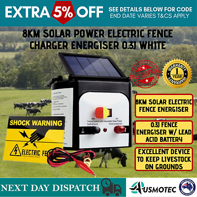 Solar Powered Energizer Charger Electric Fence Farm Animal Fencing 8km New