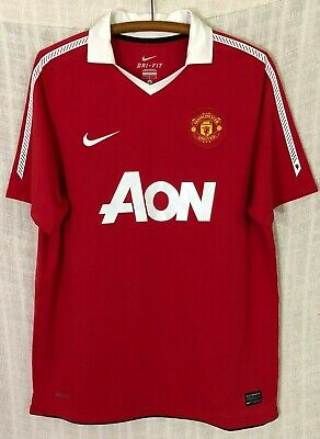 200eebfb3 Manchester United Nike Dri-Fit AON 2010 11 Red Sewn Game Jersey~Men s