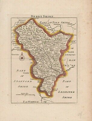 Scarce 1753 map of Derbyshire by John Rocque
