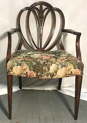 Vintage 1940's Mahogany Carved Dining Chairs- Set of 6
