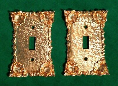 Fab Gold Vtg 70's Metal Pair of Florenta Single Switchplates Hollywood Baroque