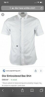 d9263de10 Dior Homme Crisp White Cotton Bee Logo Shirt Size 42 Smart Casual Italy £350