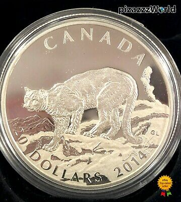 2014 Canada $20 99.99% Pure Silver COIN COUGAR: Atop a Mountain Proof-1/3 in set