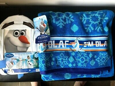BRAND NEW Set of 2 Disney Frozen Olaf Beach/Bath Towel & Poncho/Hooded Towel