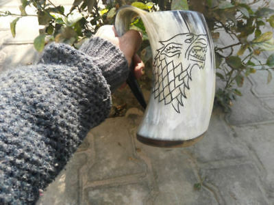 Game Of Thrones Stark Sigil Wolf Viking-Drinking Horn Mug Cup Beer Wine Mead Ale
