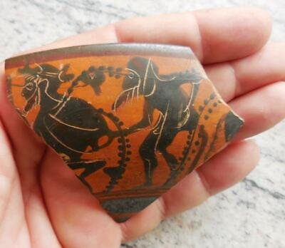 Stunning Ancient Greek Painted Pot Sherd With 2 Male Figures. 500Bc Found France