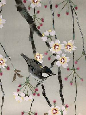 HANGING SCROLL JAPANESE PAINTING JAPAN Cherry BIRD ANTIQUE VINTAGE PICTURE d390